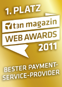 """Bester Payment Service Provider 2011"" bei den t3n Web Awards 2011"